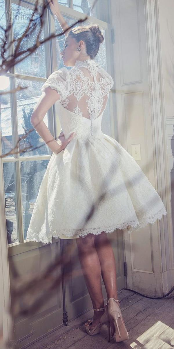 lace short wedding-dresses with cap sleeves high neck vintage sareh noiri
