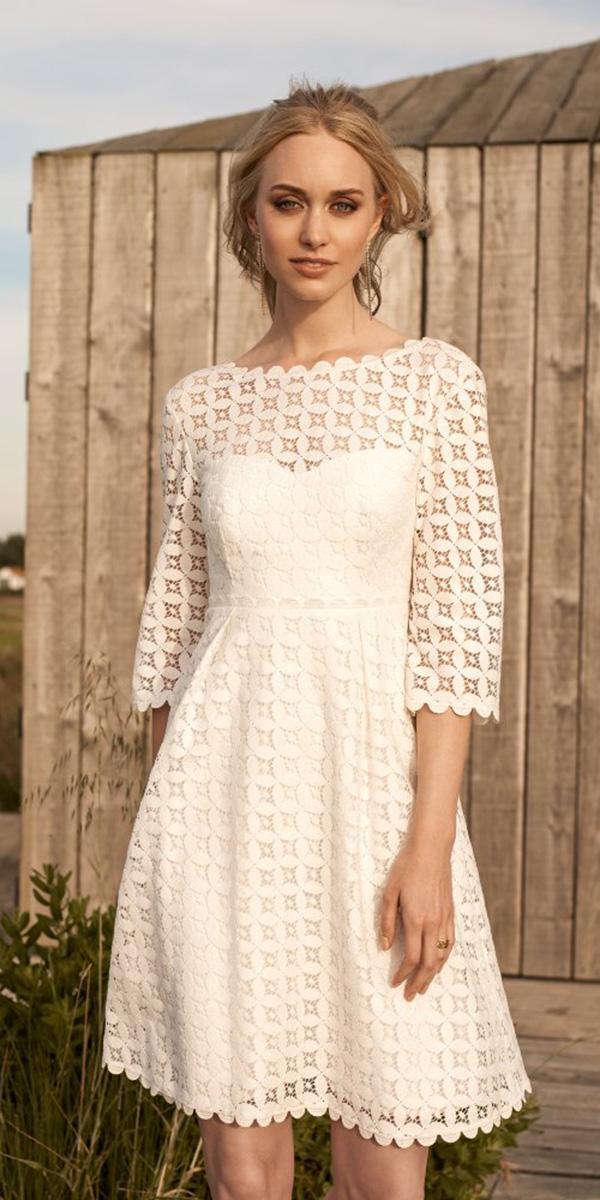 lace short wedding dresses with sleeves boho rembo styling