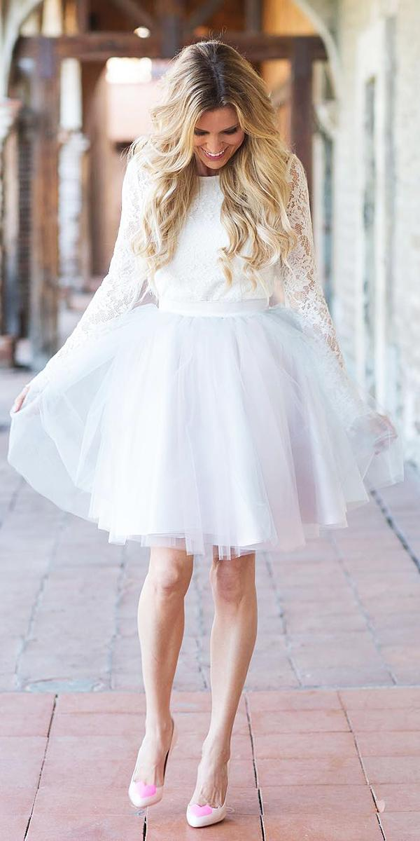 lace short wedding dresses with sleeves tulle skirt taylor cole simshauser