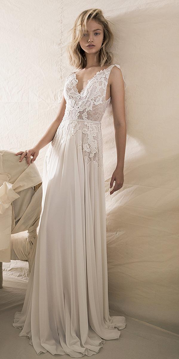 lihi hod wedding dresses 2018 a line v neckline lace floral embellishment chiffon