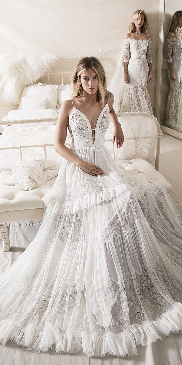 lihi hod wedding dresses 2018 a line with spaghetti straps with ruffled skirt floral details