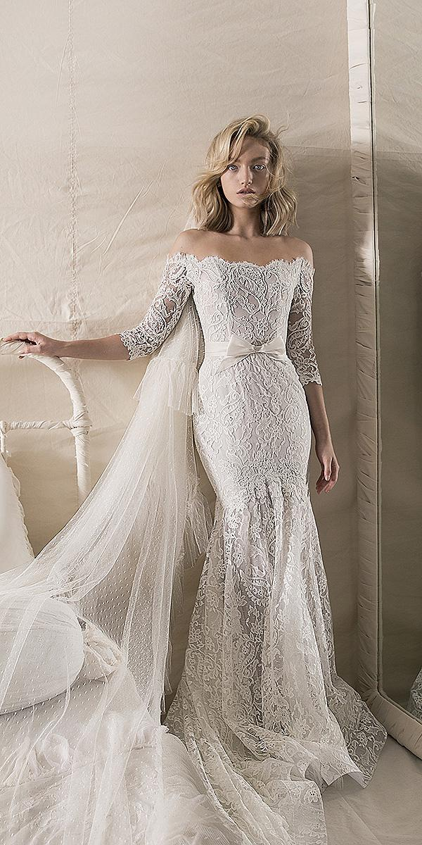 lihi hod wedding dresses 2018 mermaid with sleeves off the shoulder with bow
