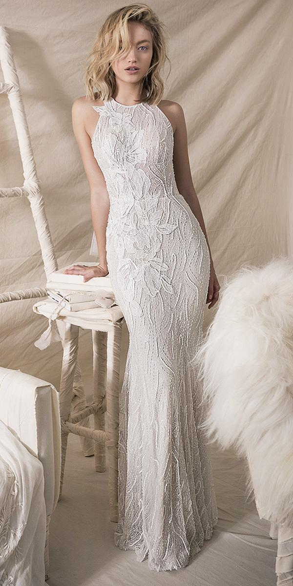lihi hod wedding dresses 2018 sheath jewel neckline floral appliques romantic