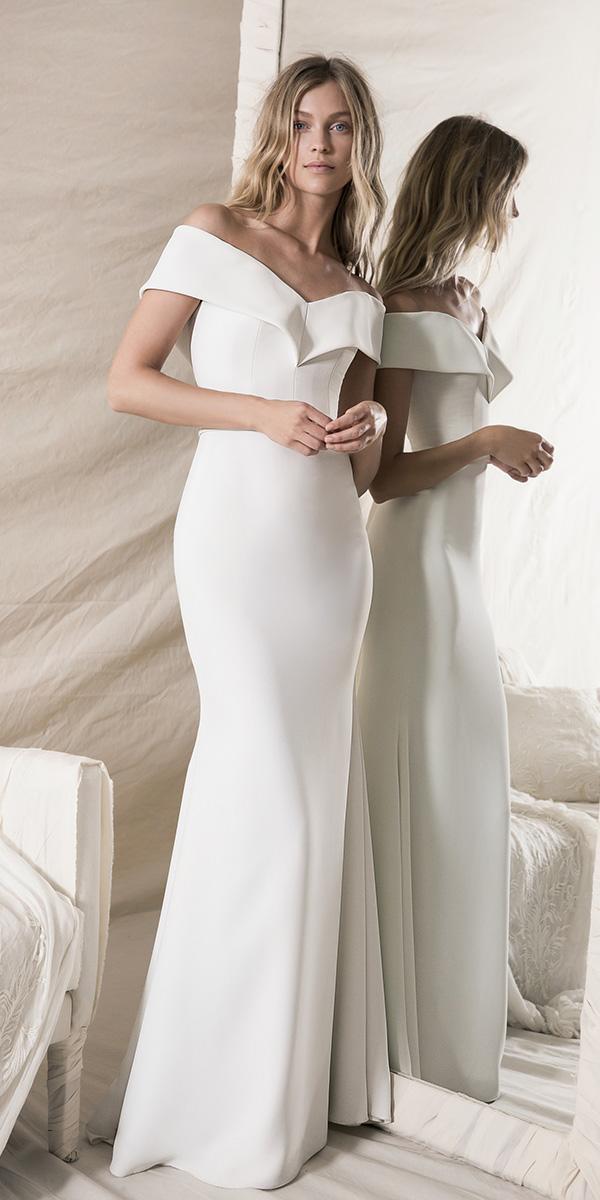 lihi hod wedding dresses 2018 sheath long off the shoulder simple
