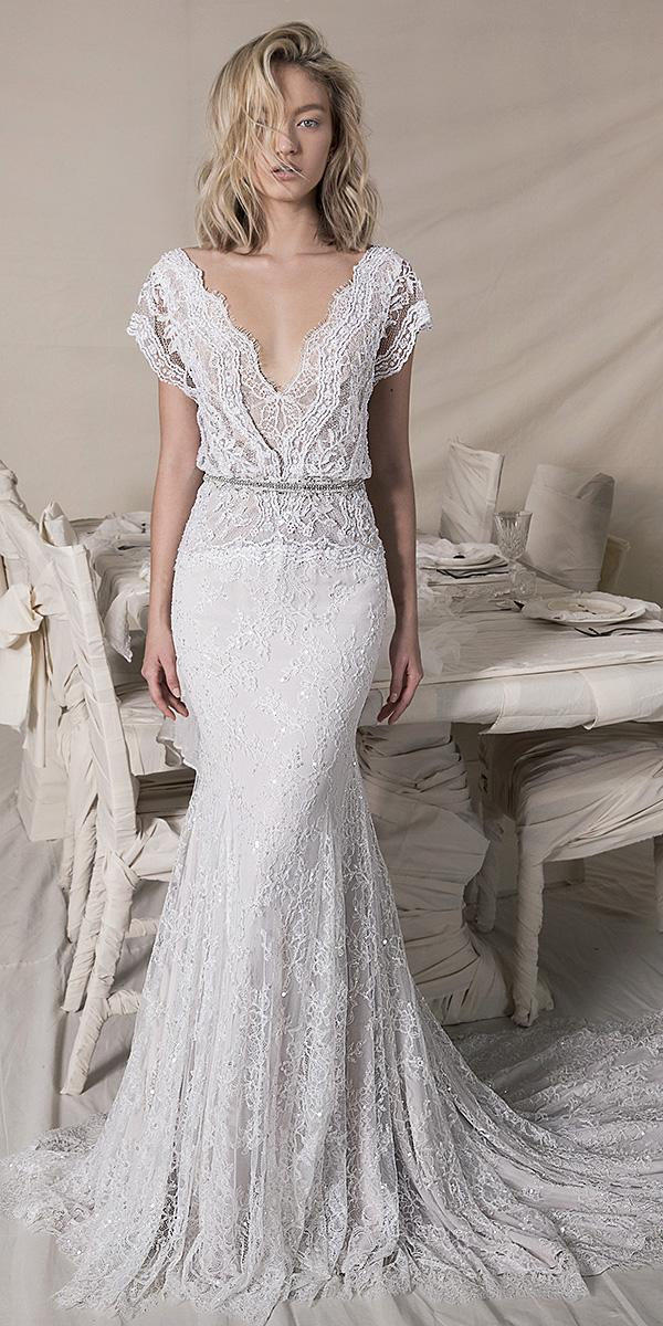 lihi hod wedding dresses 2018 sheath long overlay full lace sequin skirt