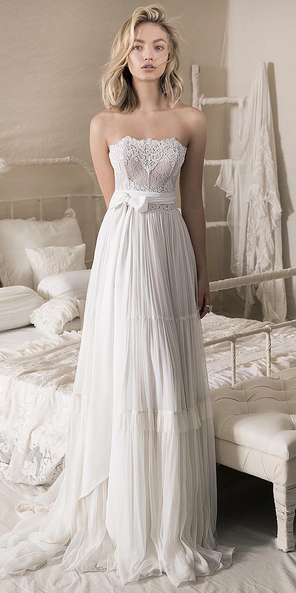 lihi hod wedding dresses 2018 sheath long shiffon lace top romantic