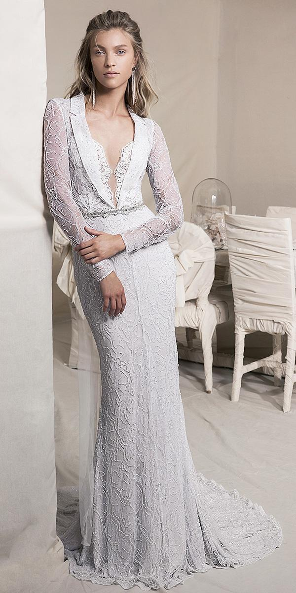 lihi hod wedding dresses 2018 sheath with long sleeves beaded belt full lace