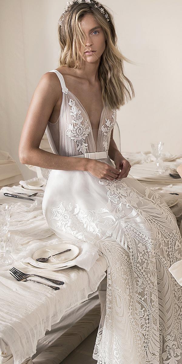 lihi hod wedding dresses 2018 with straps deep v neckline lace embellishment