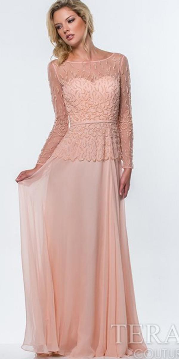 long mother of bride dresses with sleeves peach for fall terani