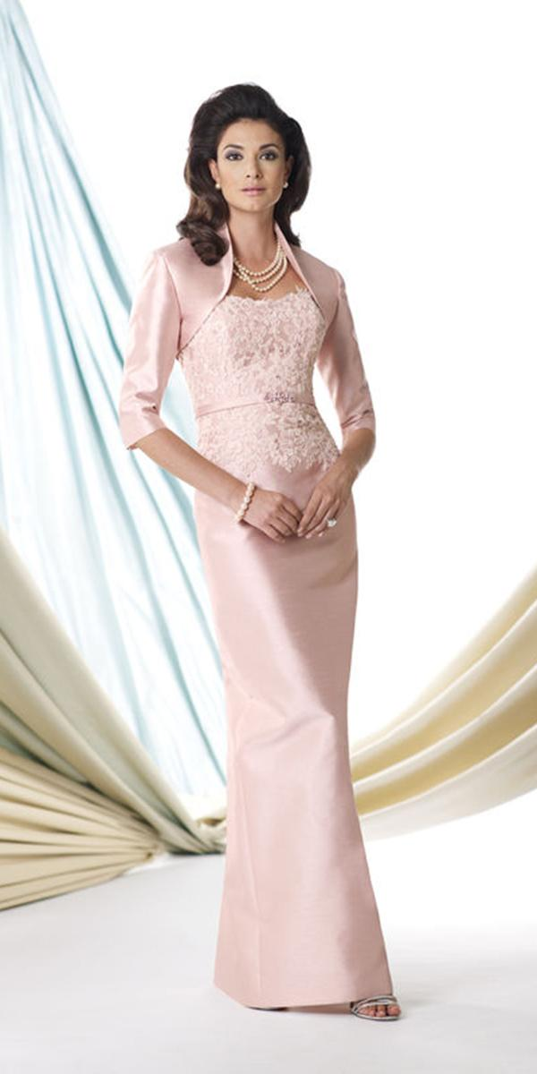 long mother of the bride dresses long with jacket for winter pink mon cherri