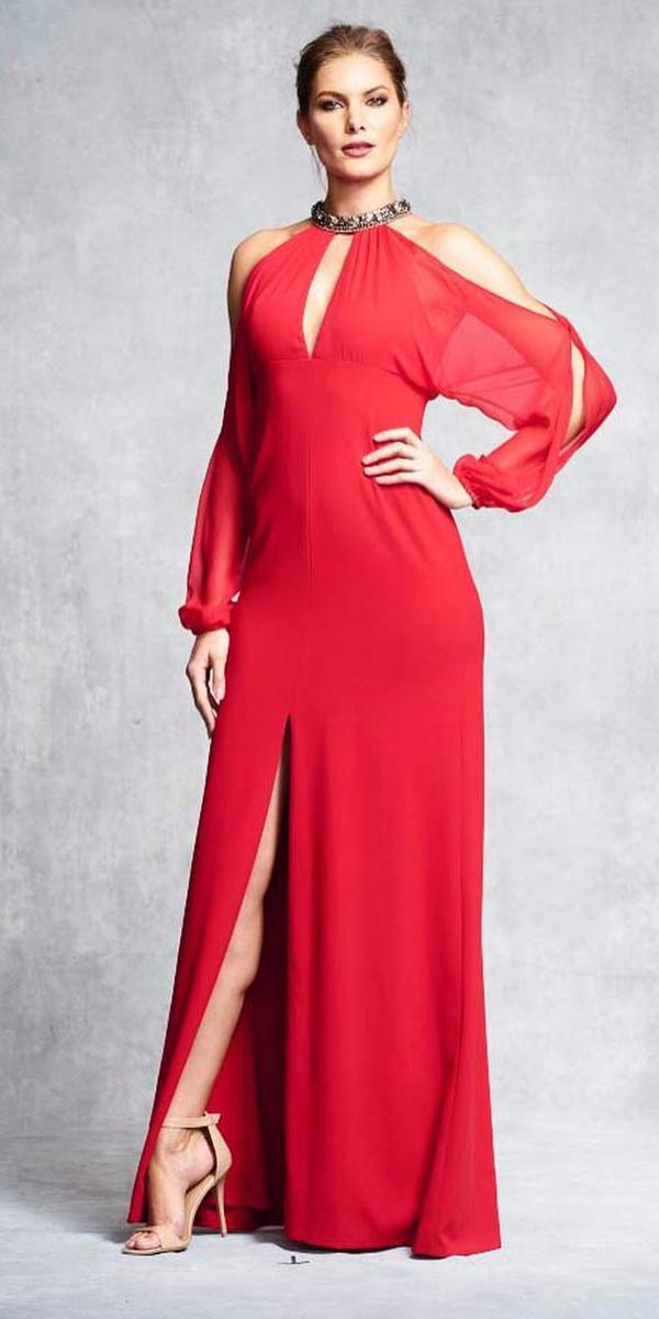 long mother of the bride dresses long with slit sleeves red aidan mattox