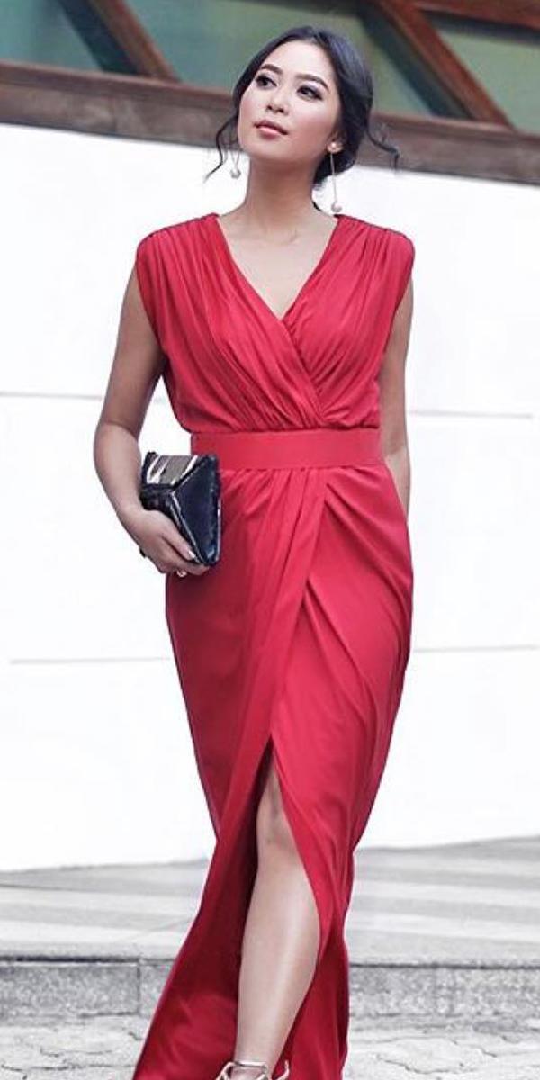 long mother of the bride dresses long with slit v neckline red simple tadashis hoji