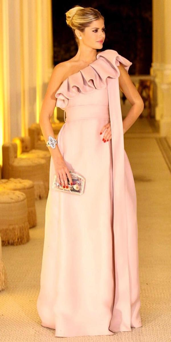 long mother of the bride dresses modern one shoulder pink vestidos oficial