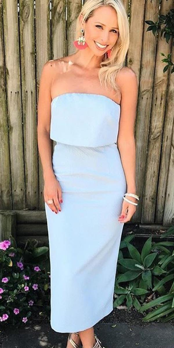 long mother of the bride dresses straight neckline spring light blue romance the label