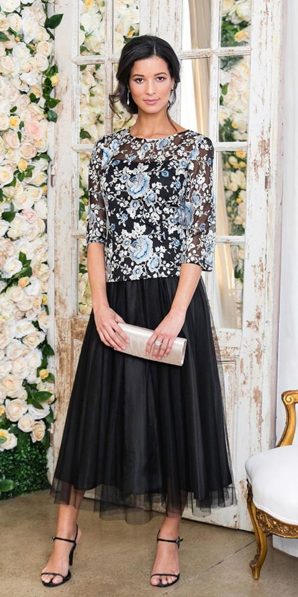 long mother of the bride dresses with sleeves floral embellishment black alex evenings