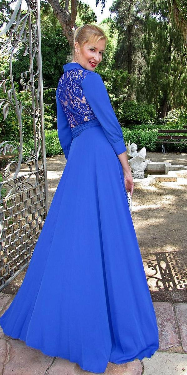 long mother of the bride dresses with sleeves hig neck blue sonia penaoficial