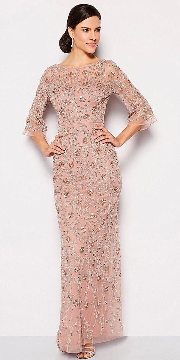 long mother of the bride dresses with three qoute sleeves sequins floral for fall aidanmattox