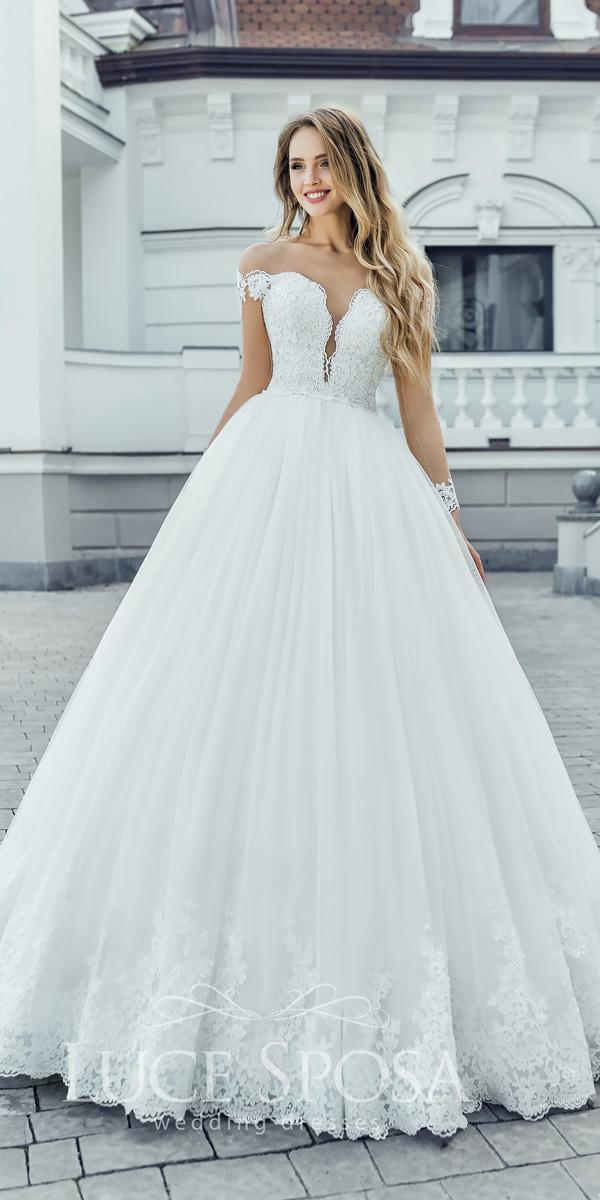 luce sposa wedding dresses 2018 ball gown off the shoulder sweetheart neck lace