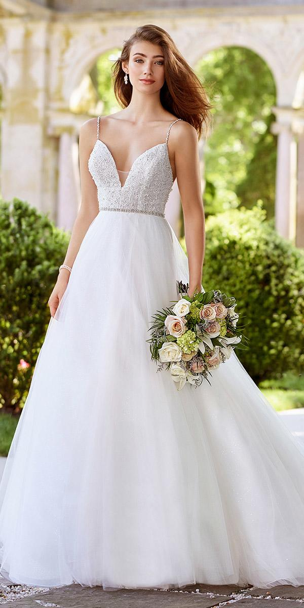 martin thornburg wedding dresses a line with spaghetti straps beaded top tulle skirt