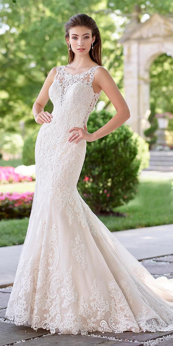 martin thornburg wedding dresses mermaid illusion neckline lace wuth train 2018