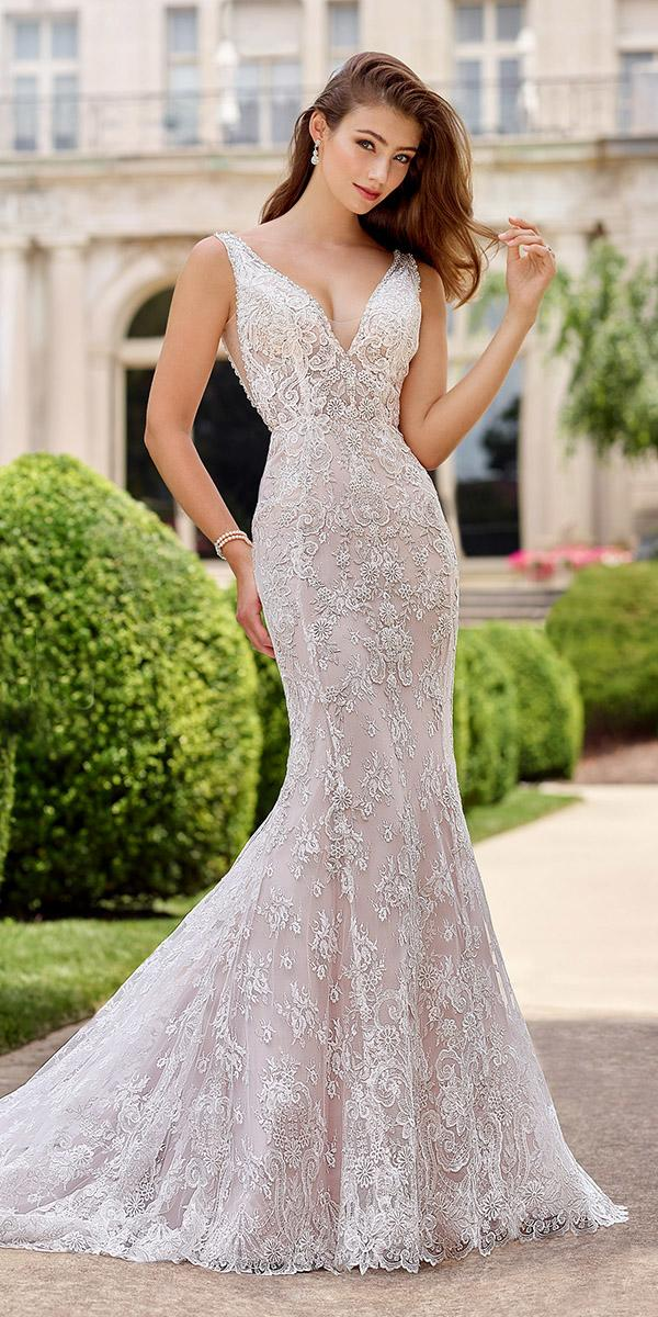martin thornburg wedding dresses mermaid v neck lace embroidered