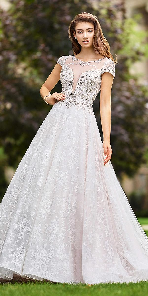 martin thornburg wedding dresses princess with cap sleeves lace skirt beaded corset