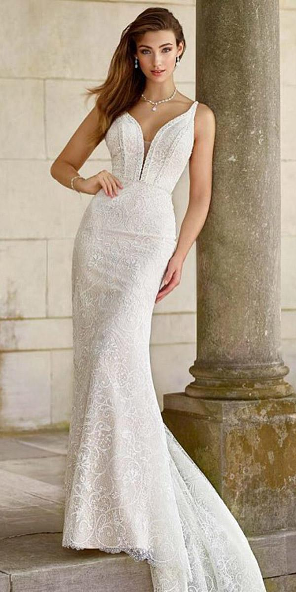 martin thornburg wedding dresses sheath deep v neckline mon cheri simple