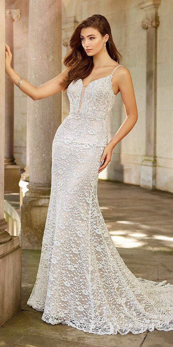 martin thornburg wedding dresses sheath full lace with spaghetti straps