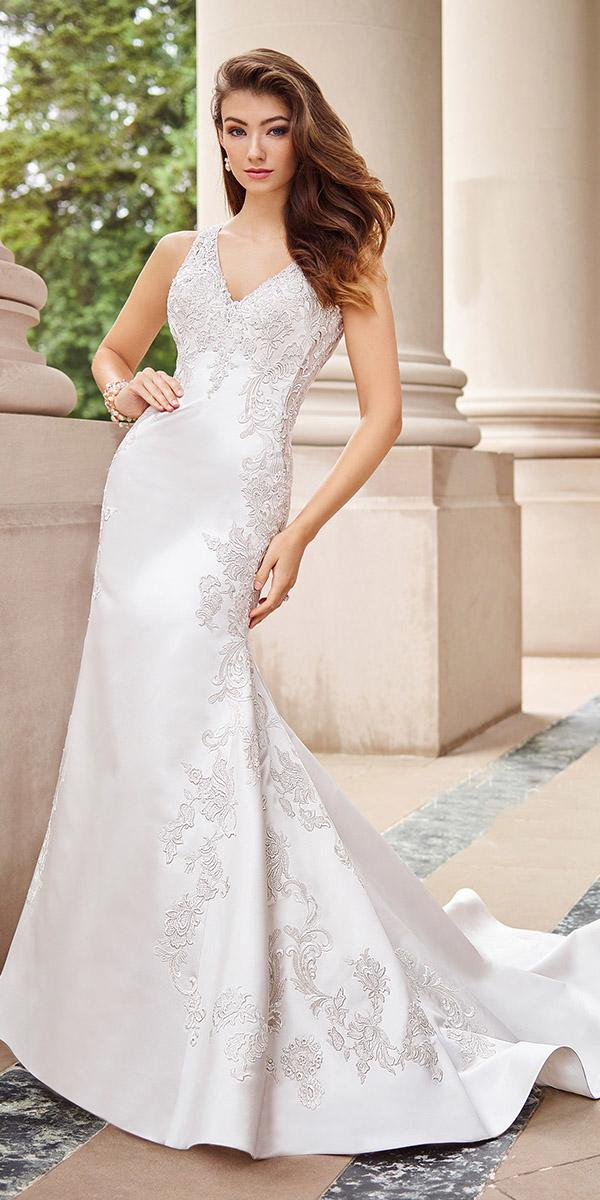 martin thornburg wedding dresses sheath minimalism simple floral embellishment
