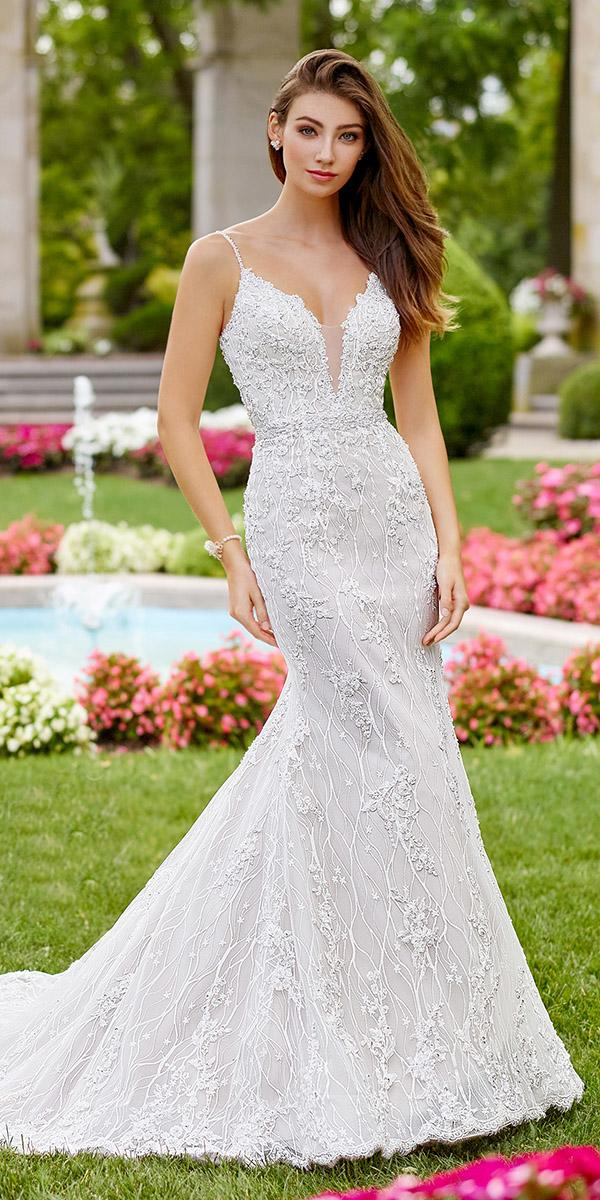 martin thornburg wedding dresses with straps deep v neck floral 2018