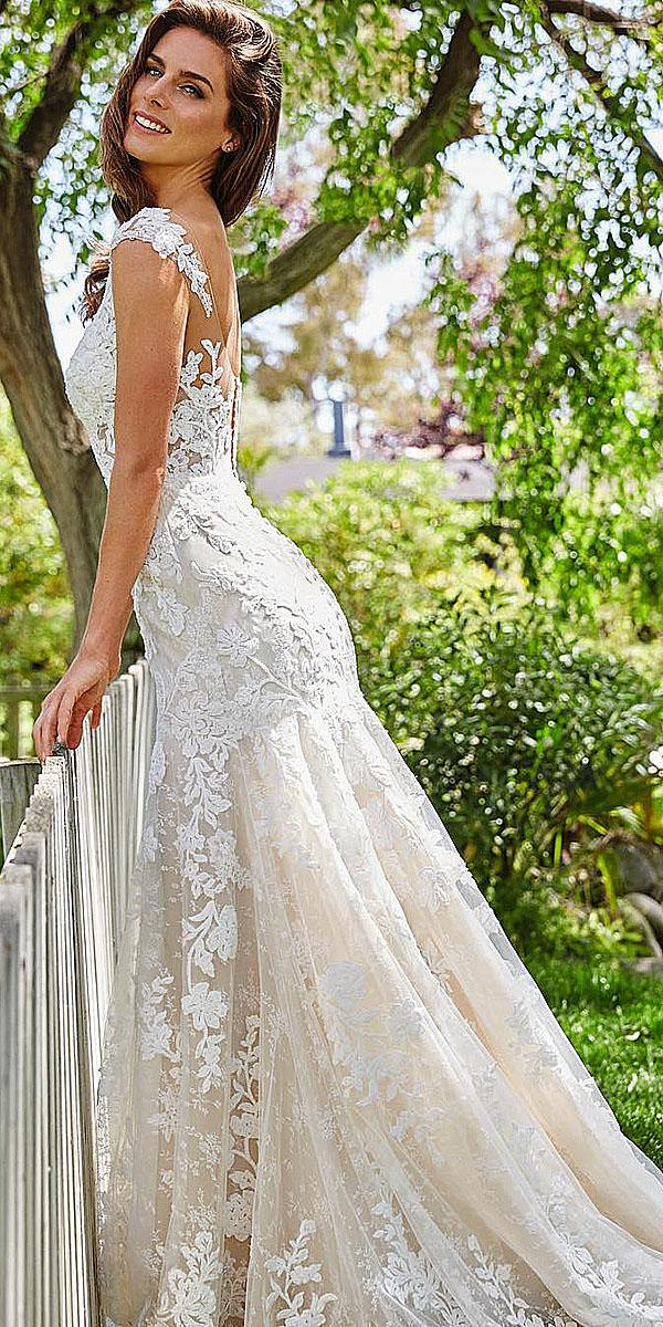 mermaid full lace embroidered with buttons st. patrick wedding dresses