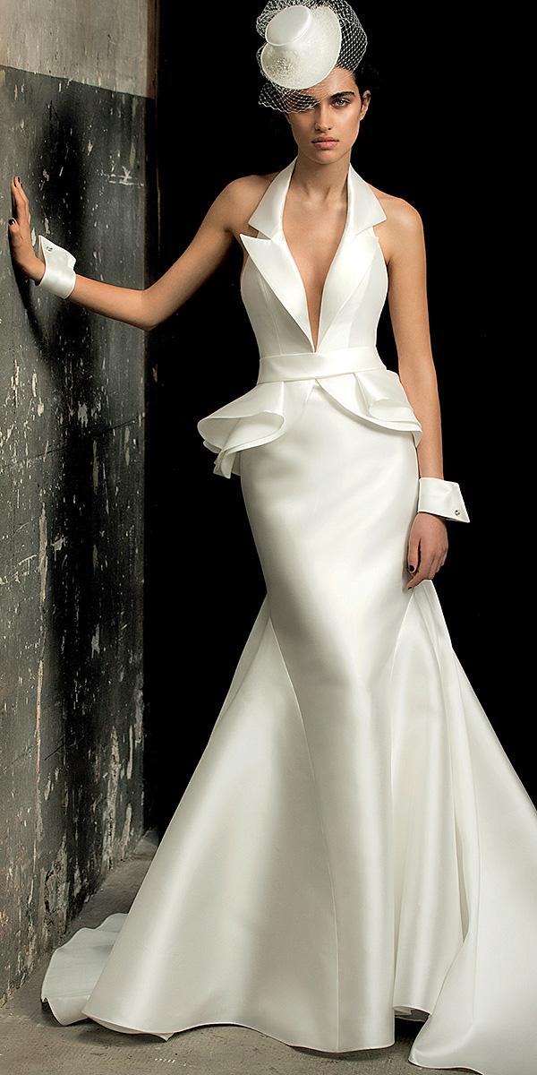 mermaid deep v neckline simple elegant 2018 valentini spose wedding dresses