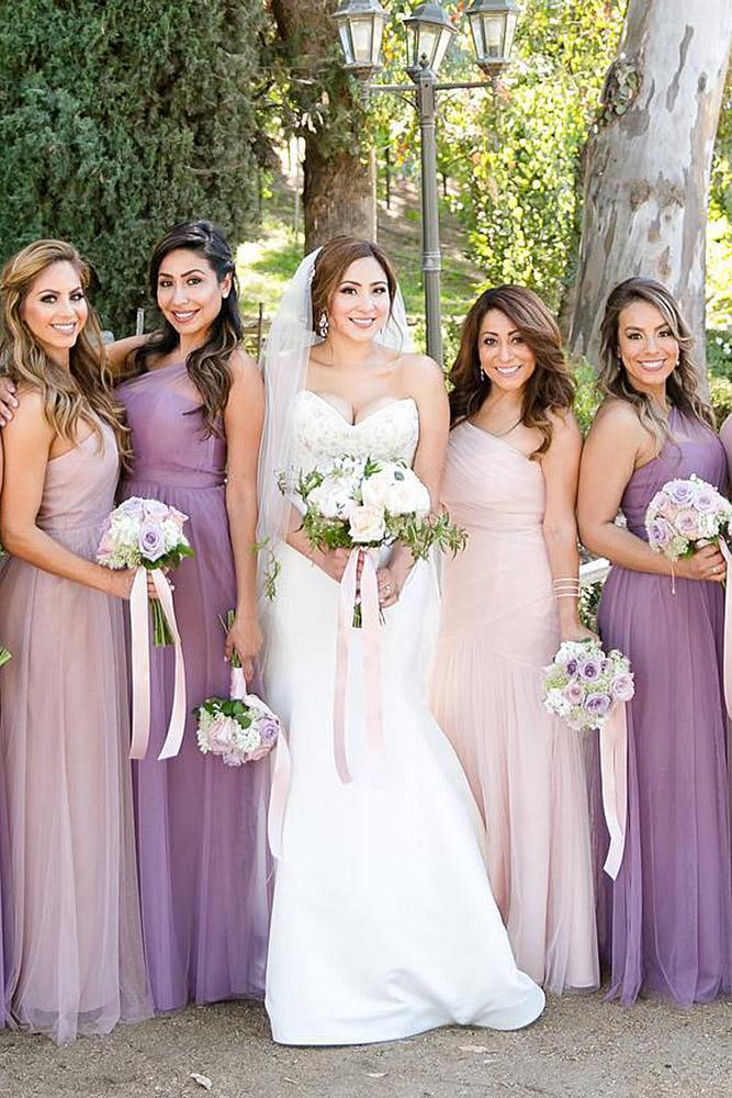 Mismatched Bridesmaid Dresses Long Purple Color Leah Marie Photography