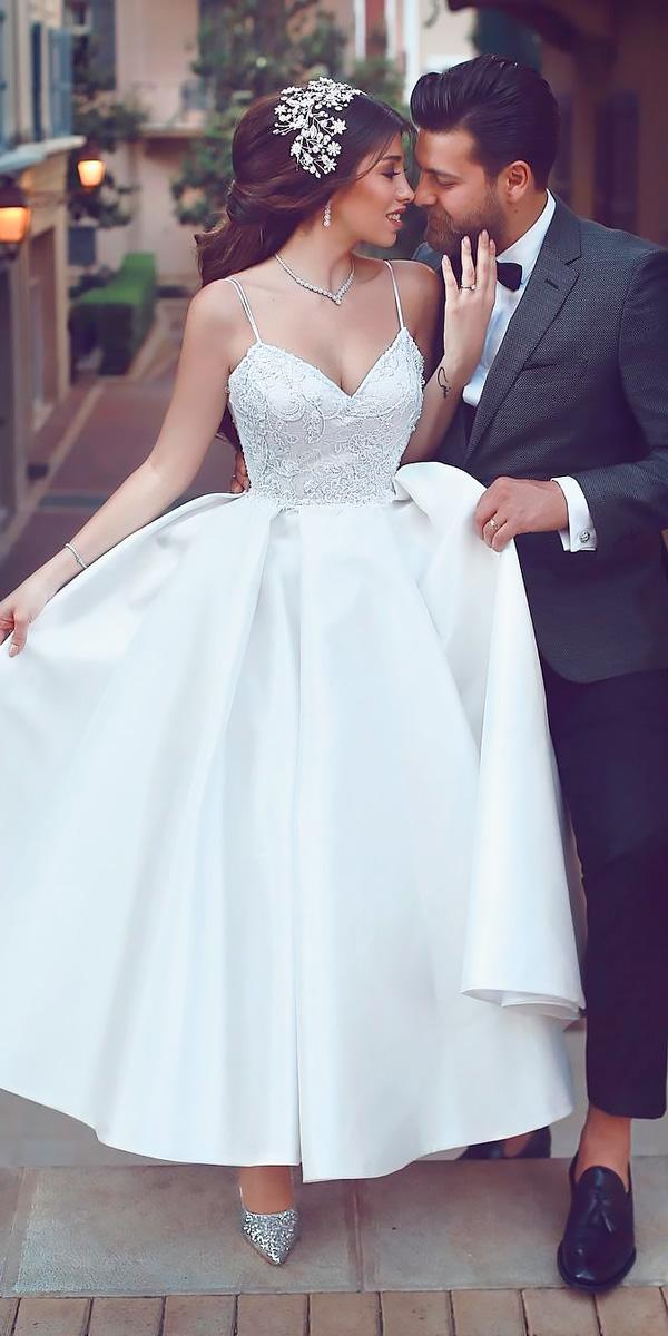 modern sweetheart neck lace with straps tea length wedding dresses said mhamad