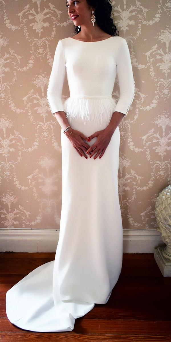 modest wedding dresse sheath with long sleeves feather accents simple alicia rueda atelier