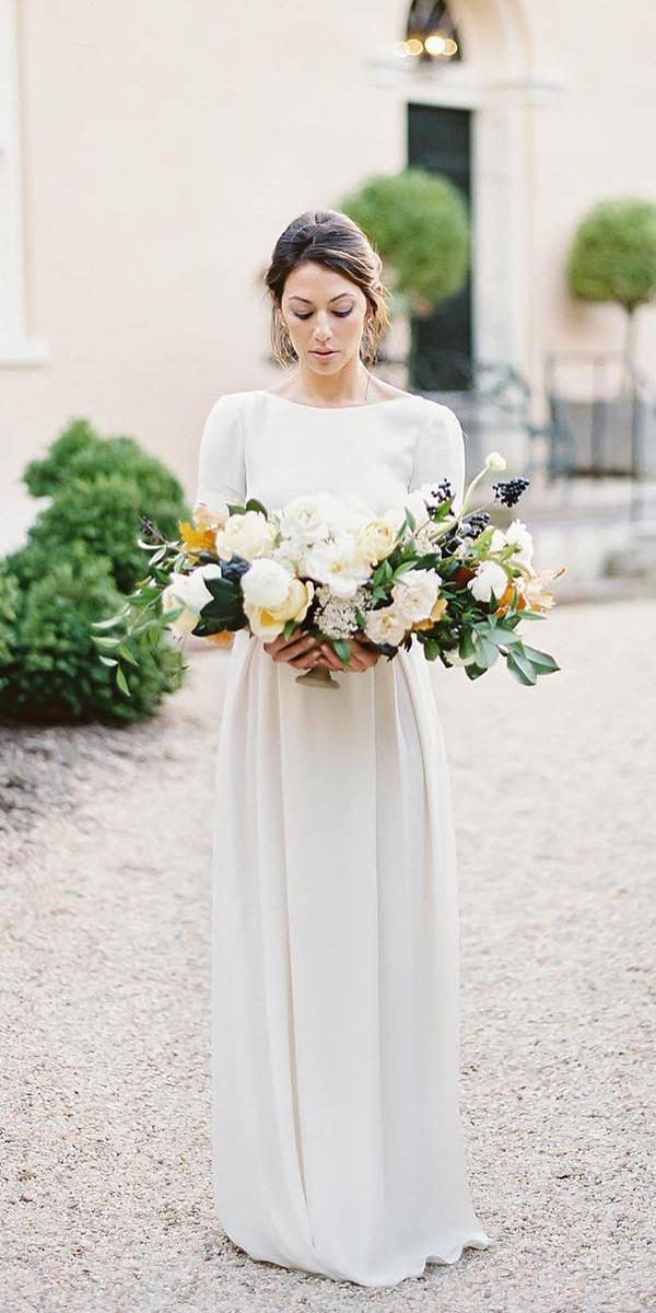 modest wedding dresse with long sleeves simple alexandra grecco