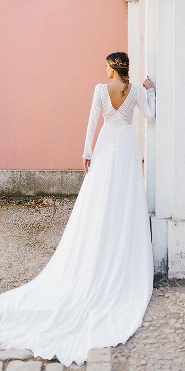 modest wedding dresses v back with long sleeves lace marta marti