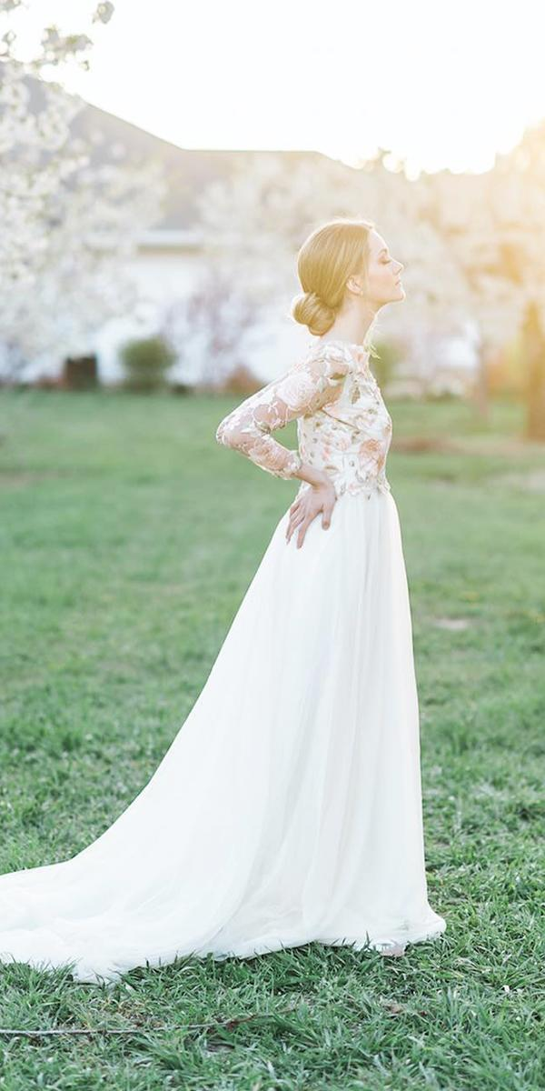 modest wedding dresses with sleeves a line floral top elegant kristina curtis photography