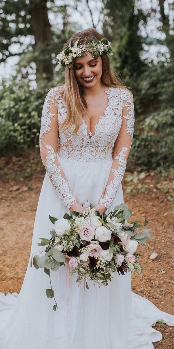 modest wedding dresses with sleeves a line lace rustic bylillian west