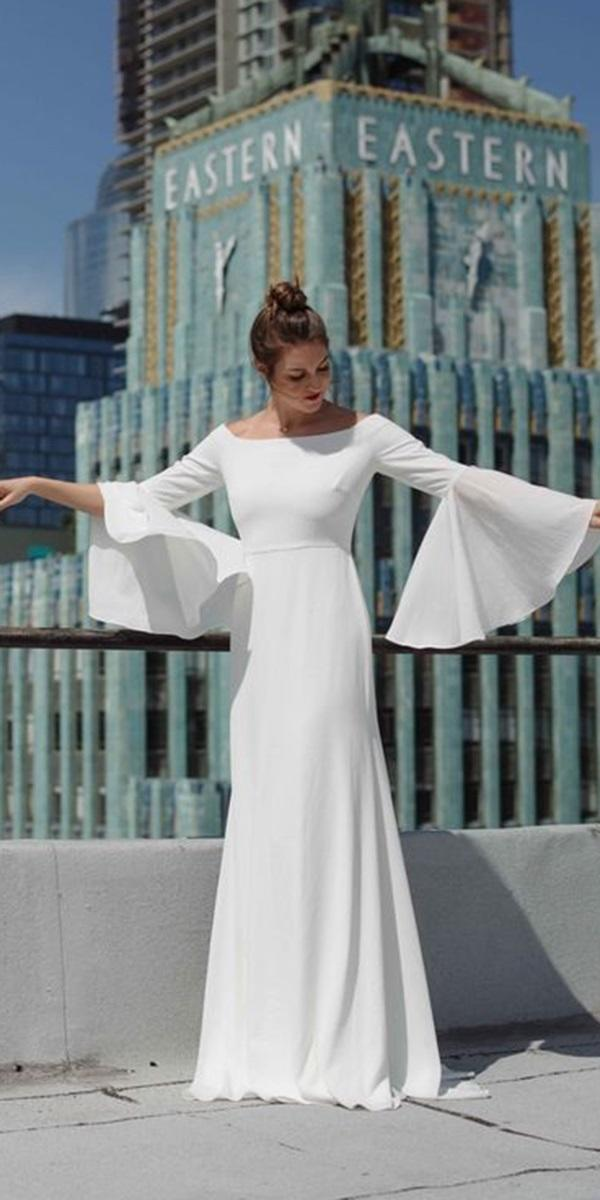 modest wedding dresses with sleeves a line outdoor joanna augus