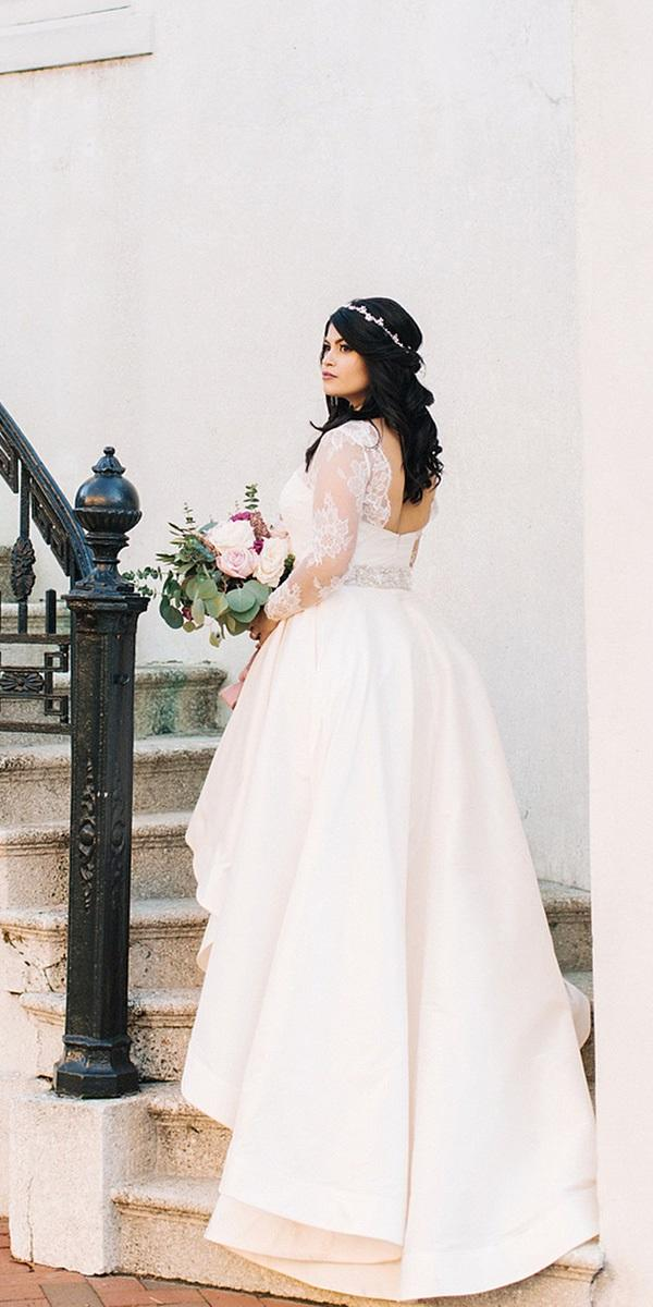 modest wedding dresses with sleeves high low for plus size anne barge