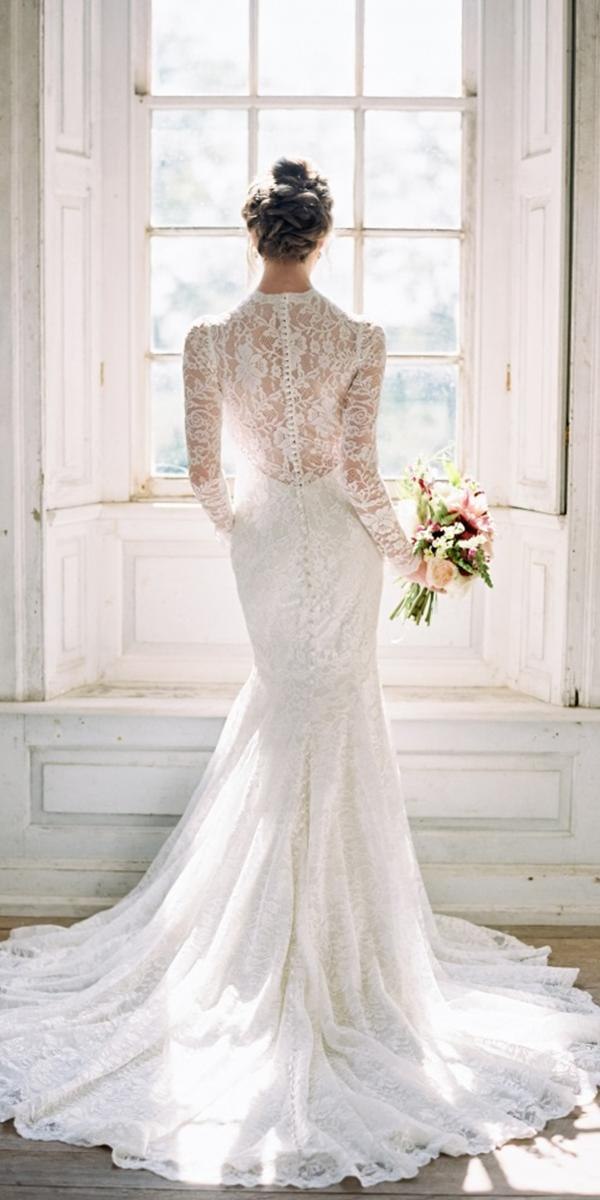 modest wedding dresses with sleeves mermail full lace meredith sledge