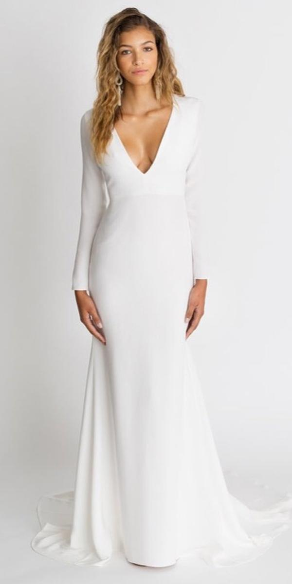 modest wedding dresses with sleeves sheath v neckline simple alexandra grecco