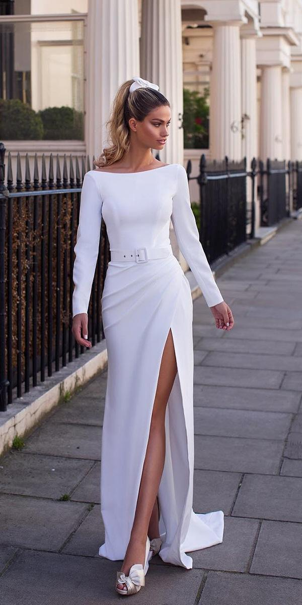 modest wedding dresses with sleeves sheath with slit simple milla nova
