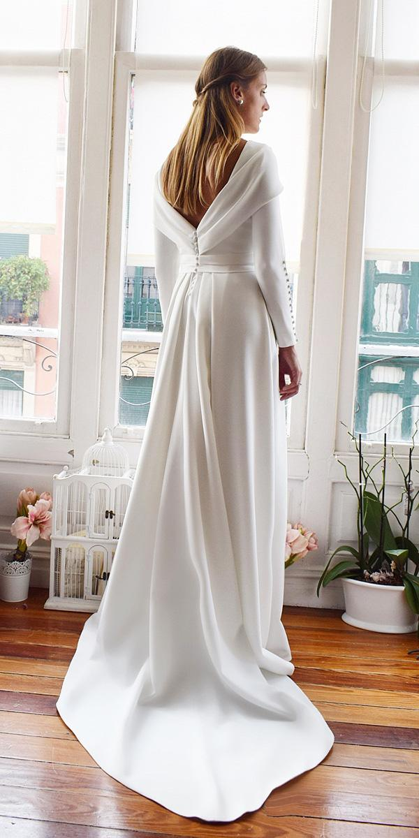 modest wedding dresses with sleeves v back with buttons simple aliciarue daatelier