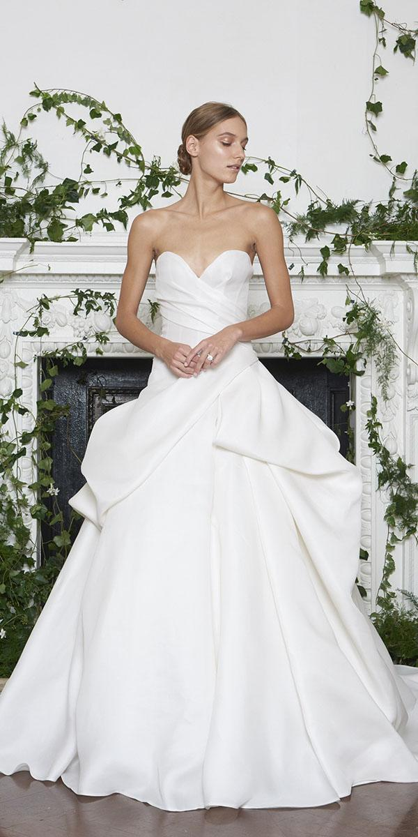 monique lhuillier wedding dresses 2018 a line ruffled skirt satin simple