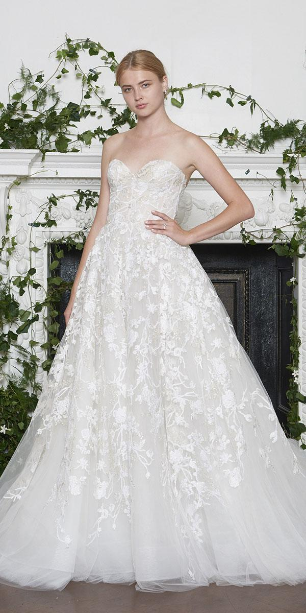 monique lhuillier wedding dresses 2018 a line sweetheart floral embellishment