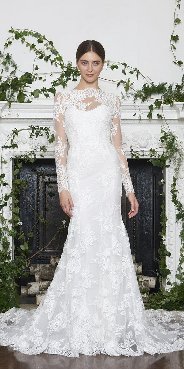 monique lhuillier wedding dresses 2018 mermaid with long sleeves full lace