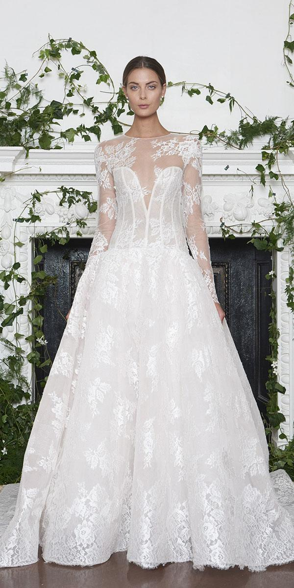 monique lhuillier wedding dresses 2018 princess illsion sweetheart deep v neckline lace sleeves
