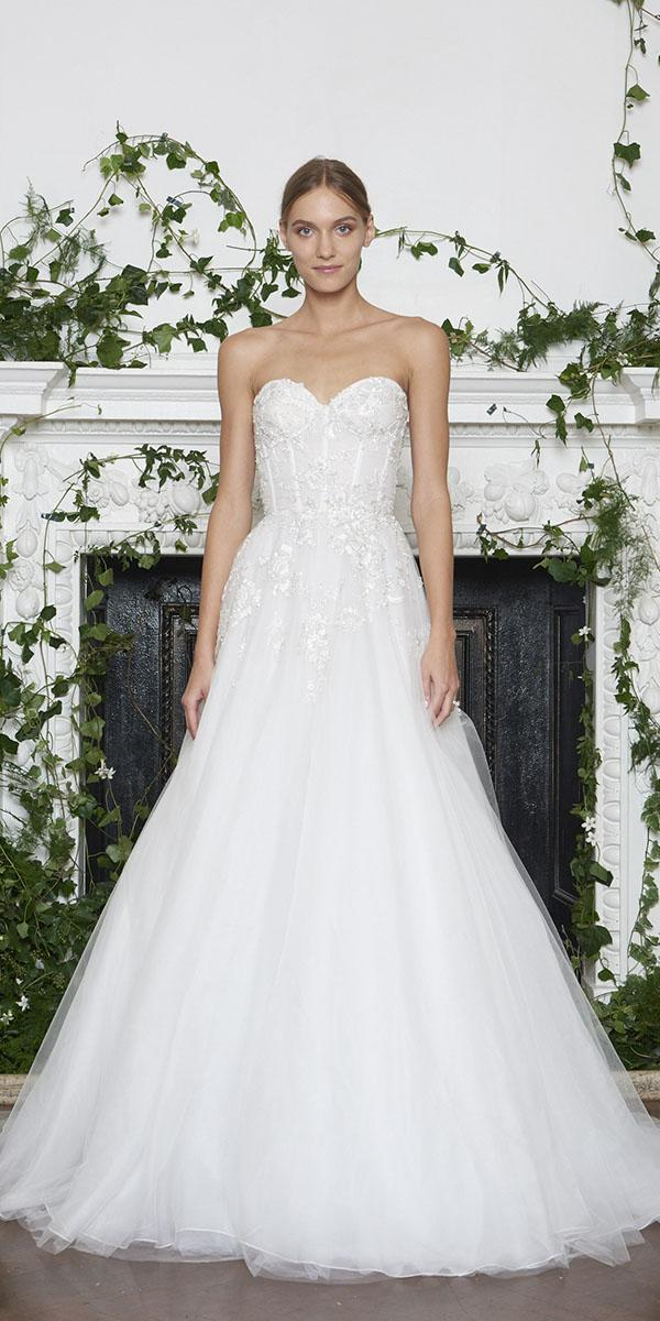 monique lhuillier wedding dresses 2018 princess sweetheart beaded tulle skirt